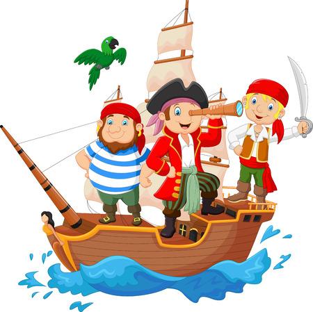 barco pirata: Cartoon pequeño pirata estaba navegando el océano Vectores