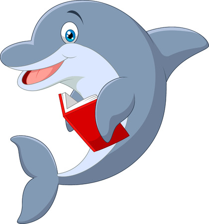 Standing little Dolphin cartoon holding book