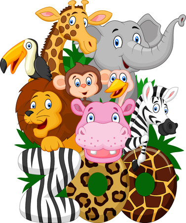 tall grass: Cartoon collection animal of zoo