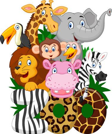 selva caricatura: Colección de dibujos animados de animales de zoológico