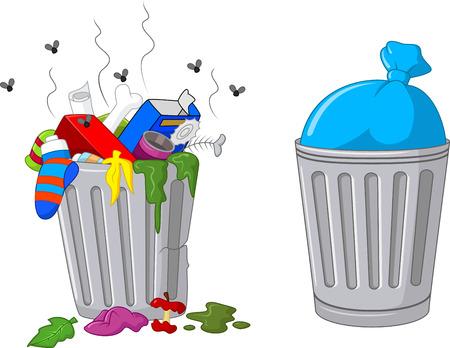 decorative urn: Cartoon trash can