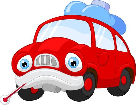 carro caricatura: Personaje de dibujos animados coche que necesita reparación Vectores