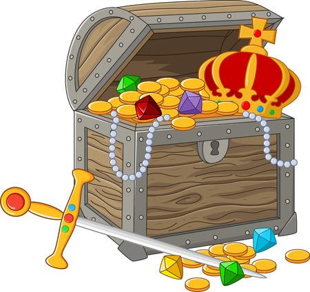 gold treasure: Cartoon Open Treasure Chest