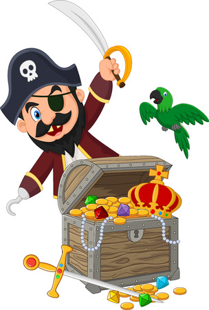 Cartoon pirate holding sword Vector