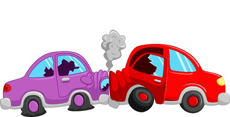 two roads: Cartoon car accident
