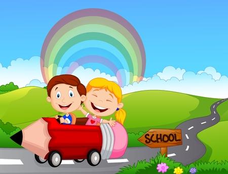 ir al colegio: Niño de dibujos animados ir a la escuela Vectores