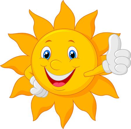 sun: Cartoon Sonne die Daumen nach oben