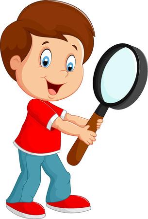 Cartoon jongen met een vergrootglas Stockfoto - 41434294