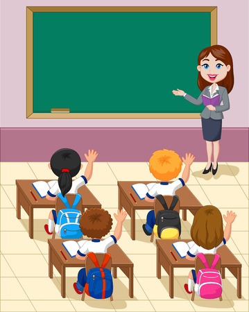 teachers: Cartoon little kids a study in the classroom