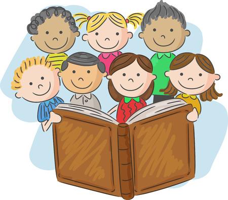 Cartoon little kid reading book