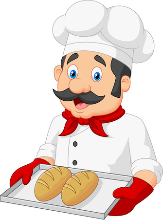 Cartoon Chef Serving bread Çizim
