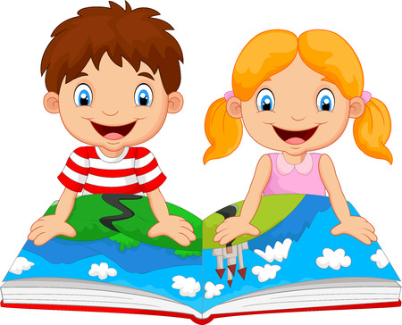reads: Cartoon boy and girl were readings the story