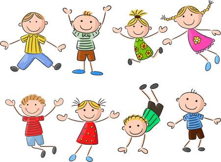 waving hand: Many happy kid cartoon jumping and dancin