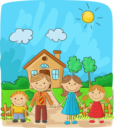 Happy family cartoon against a landscape and the house Illustration