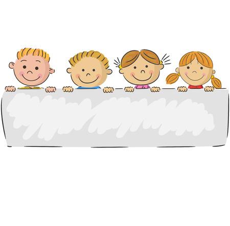 漫画のバナーを保持している小さな子供たち