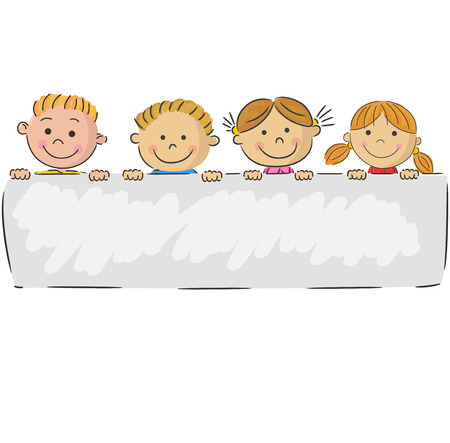 Cartoon malé děti drží banner