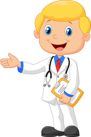 stethoscope boy: Cartoon doctor smiling and waving