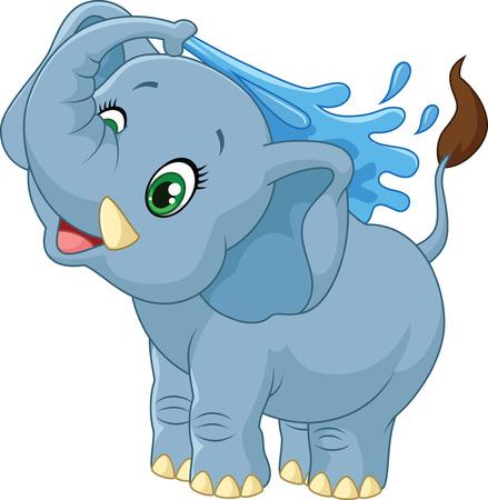 elephant nose: Cartoon elephant spraying water Illustration