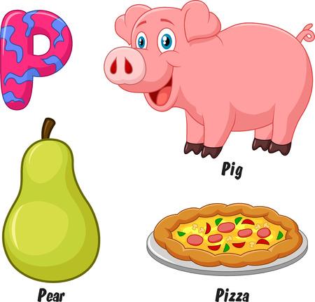 alfabeto con animales: Cartoon P alfabeto