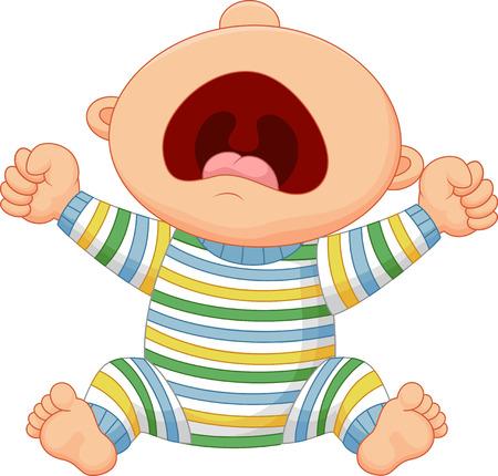 caricatura: Beb� de dibujos animados llorar Vectores