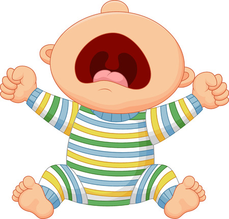 sad cute baby: Cartoon baby boy crying