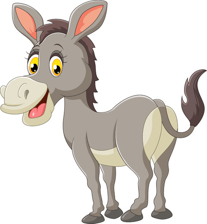 Cartoon donkey happy Vectores