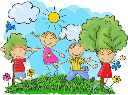 Niños pequeños dibujos animados saltando y bailando juntos Foto de archivo - 41385075