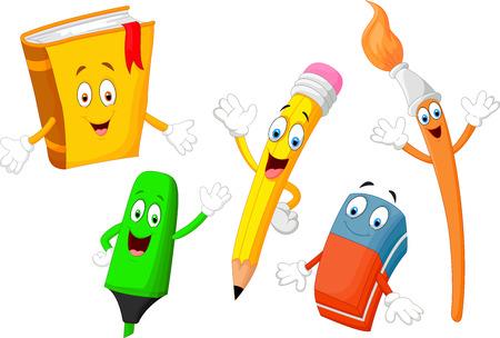 lapices: Efectos de escritorio lindos de la historieta infantil Vectores