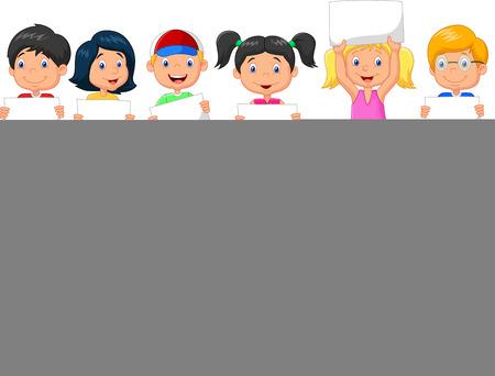 Vector children: Phim hoạt hình trẻ em có dấu hiệu trống Hình minh hoạ