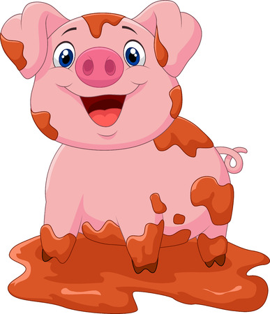 Cartoon play pig slurry 向量圖像