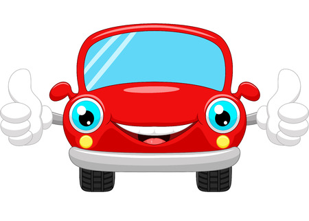 Cartoon car gives thumbs up Illustration