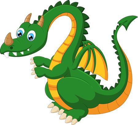 caricatura mosca: Divertidos dibujos animados dragón verde