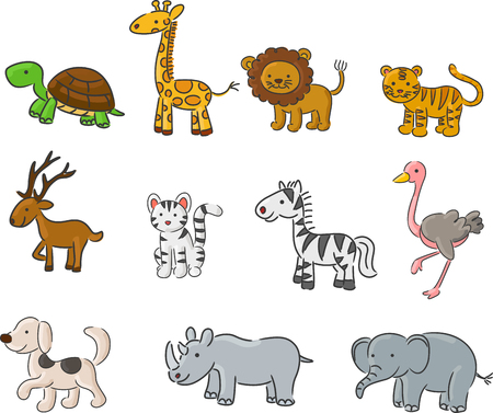 animals collection: Cartoon Collection of animals Illustration