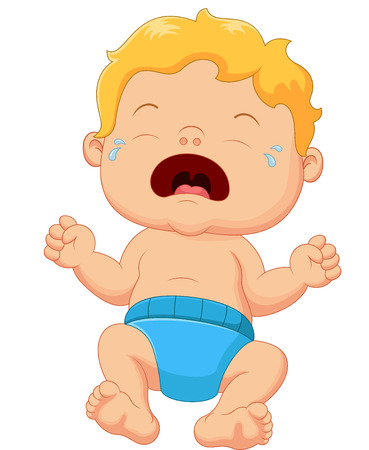 baby crying: Cartoon little baby crying