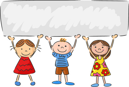 Cartoon little kids holding banner