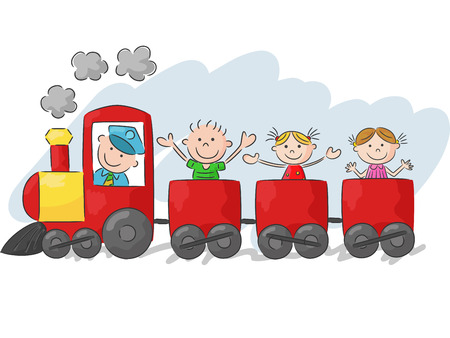 child girl: Happy little kids cartoon on a colorful train Illustration