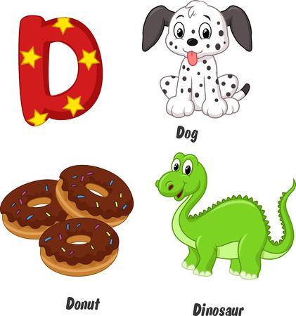 Cartoon D alphabet Vector