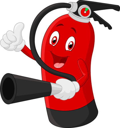 fire extinguisher: Cartoon Character of fire extinguisher giving thumb up