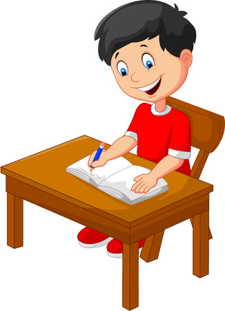 sitting at table: Cartoon little boy writing Illustration