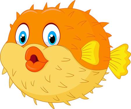 marine aquarium: Cute puffer fish cartoon