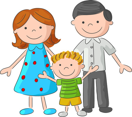 Happy cartoon family sketch