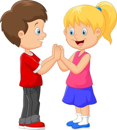 aplaudiendo: Cartoon juegos de palmas de la mano los niños
