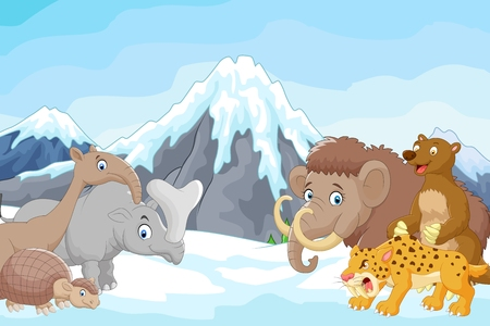 Cartoon collection of ice age animals animals with a backdrop of mountains