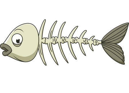 life and death: Cartoon Fish Bone Illustration