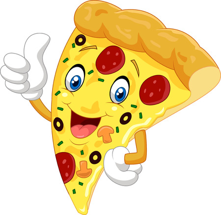 Cartoon pizza giving thumb up Çizim