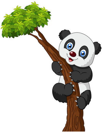 Cute panda cartoon climbing tree