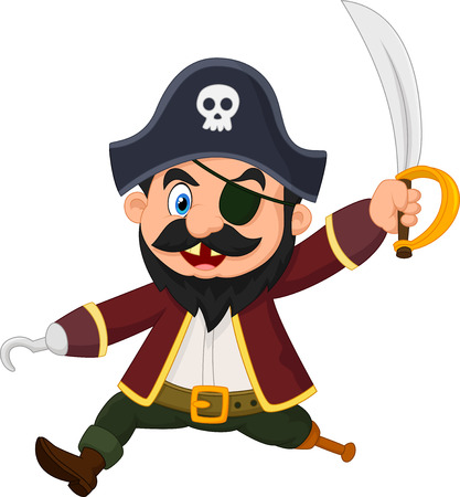 Cartoon pirate holding dagger