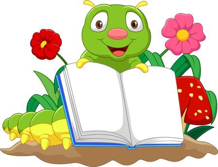 cartoon larva: Cartoon cute caterpillar holding book
