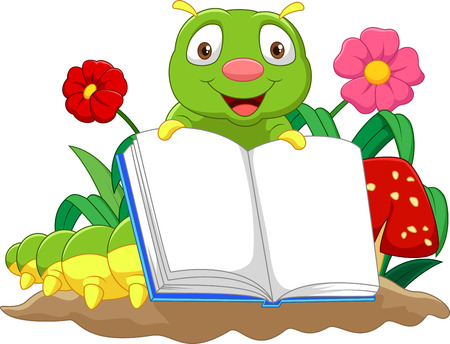 Cartoon cute caterpillar holding book