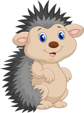 Adorable hedgehog cartoon was standing Illustration
